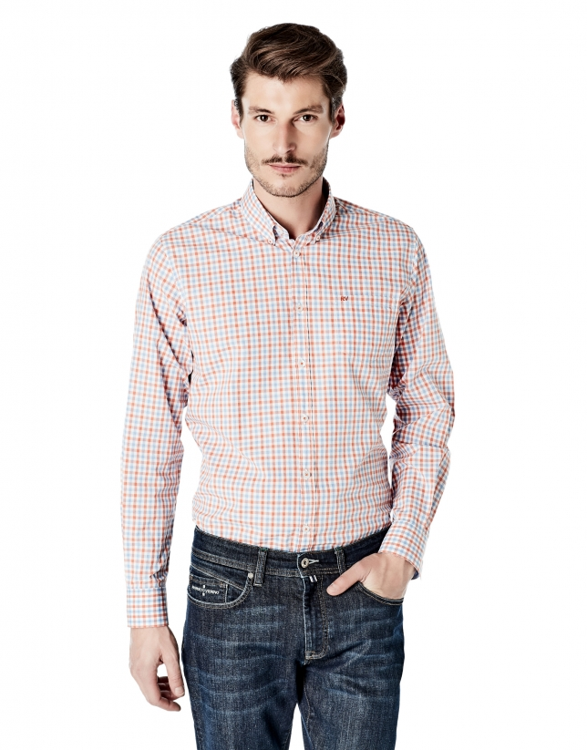 Light blue and orange checked sport shirt