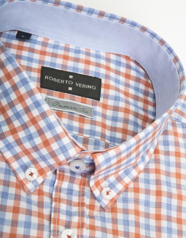 Camisa sport cuadro naranja/celeste