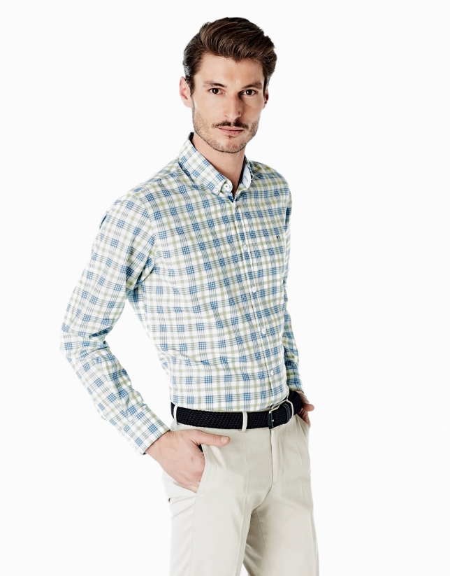 Light blue and green checked sport shirt