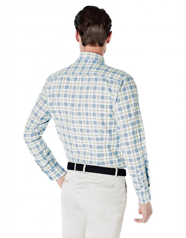 Chemise décontractée à carreaux bleu ciel et verts