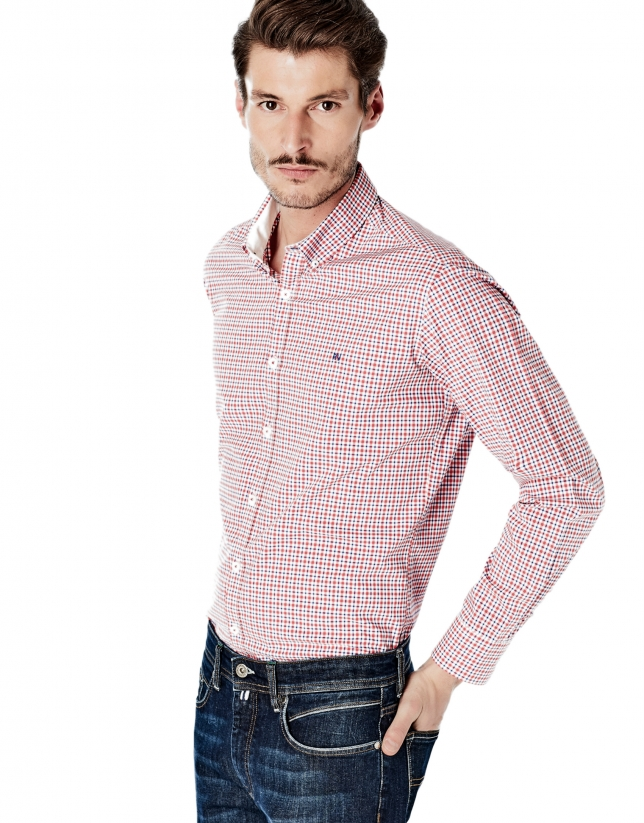 Red and navy blue checked sport shirt