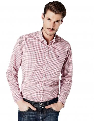 Camisa sport cuadros rojo/marino