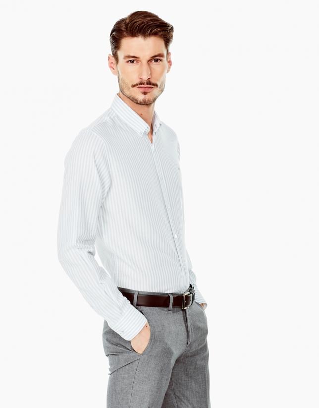 Chemise décontractée grise à rayures
