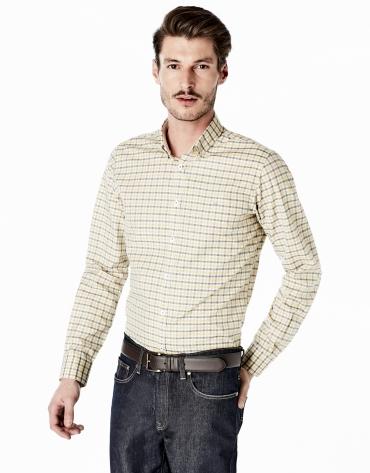 Chemise décontractée à carreaux jaunes et gris