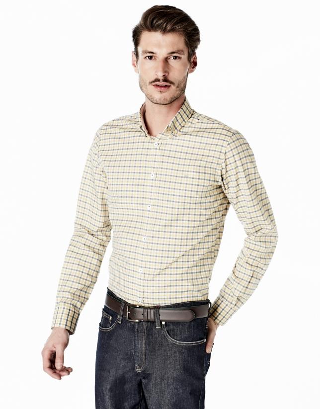Camisa sport cuadros amarillo/gris