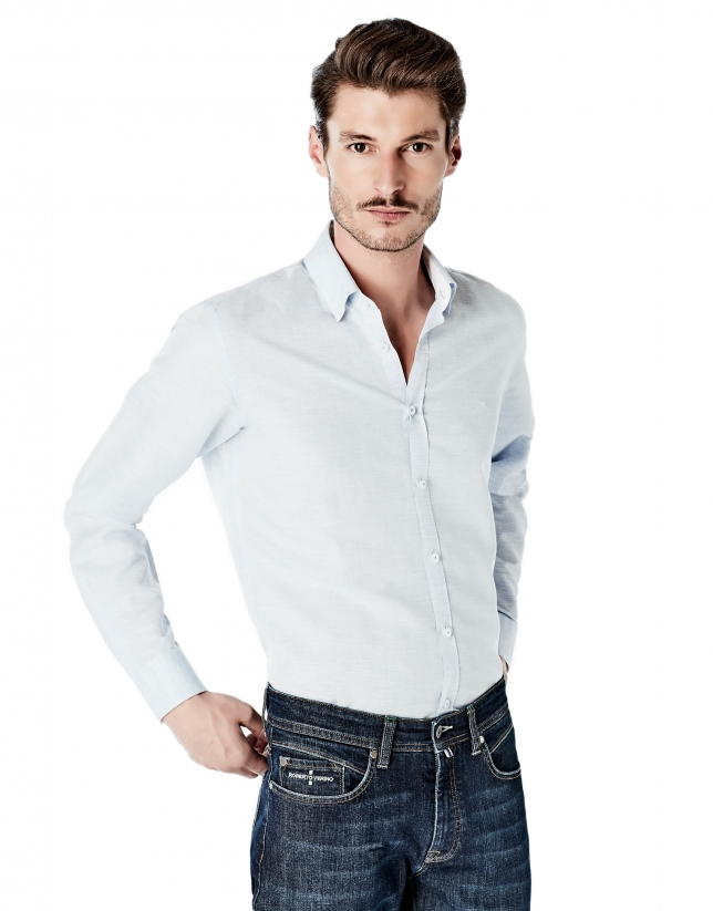 Camisa sport lino/algodón celeste