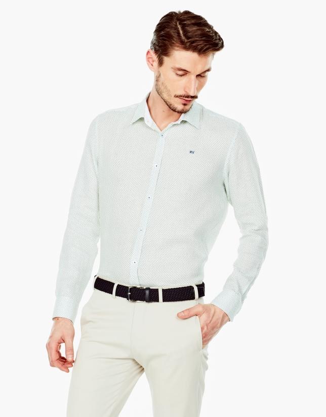 Navy blue and green print linen sport shirt