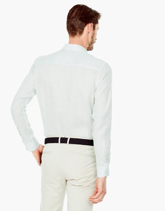 Camisa sport lino estampado fantasía marino/verde