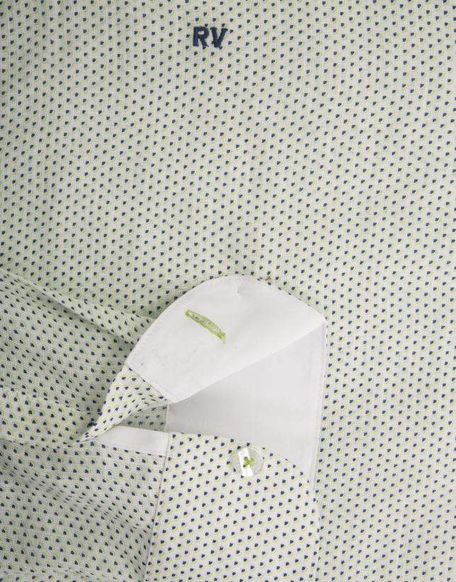 Chemise décontractée en lin imprimé fantaisie bleu marine/vert