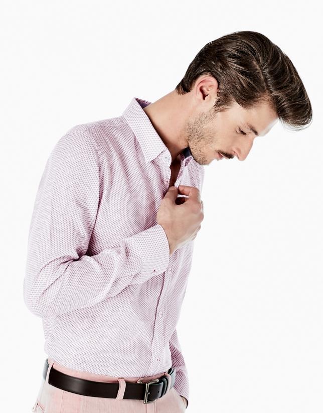 Camisa sport lino estampado fantasía marino/rojo