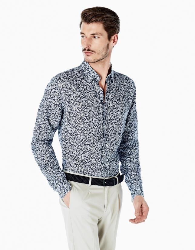 Navy blue floral print linen shirt