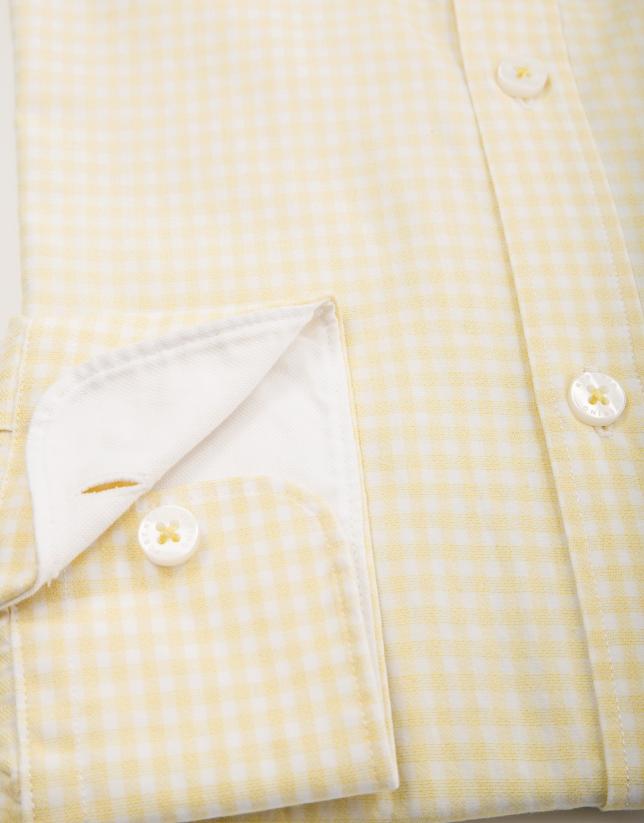 Chemise décontractée en vichy jaune