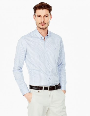 Light blue Vichy sport shirt