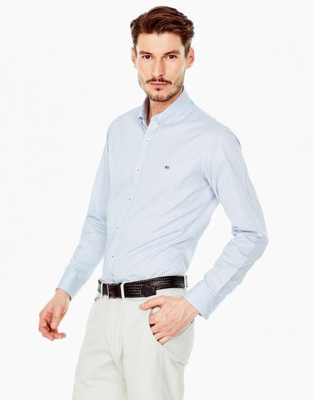 Camisa sport vichy celeste