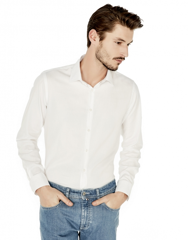 White structured slim fit dress shirt