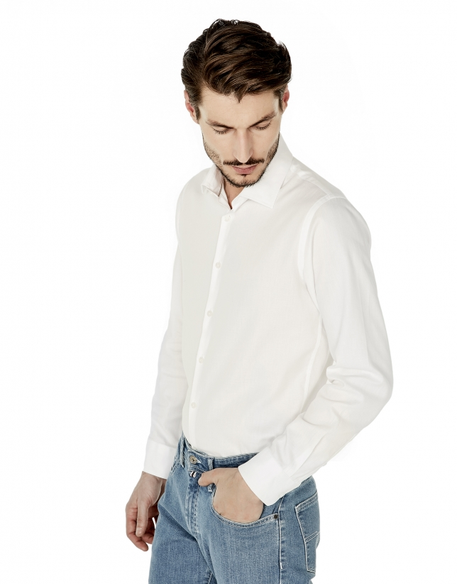 Camisa vestir slim fit estructura blanca