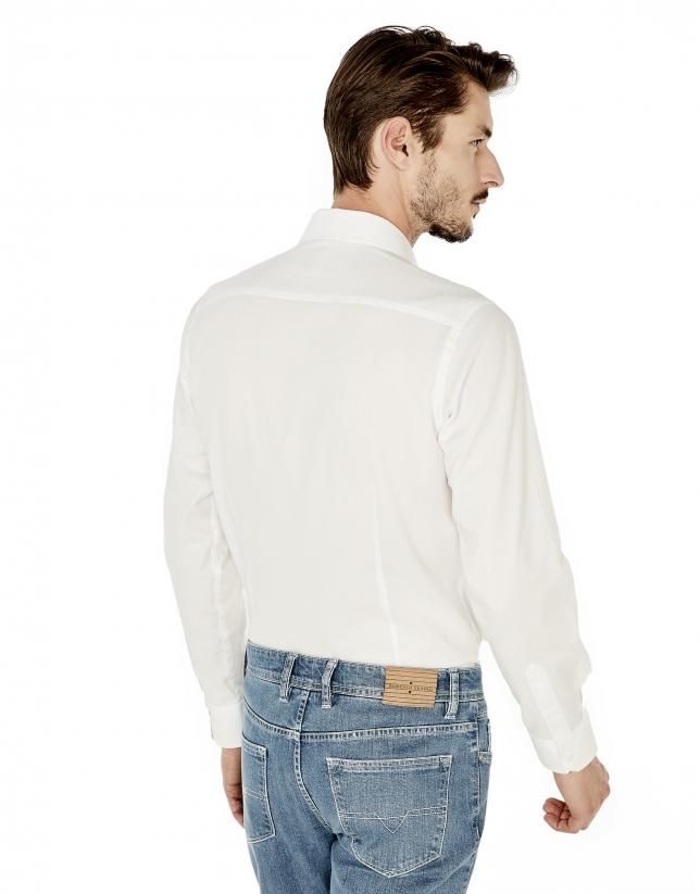 Chemise de costume coupe ajustée (slim fit) structurée blanche