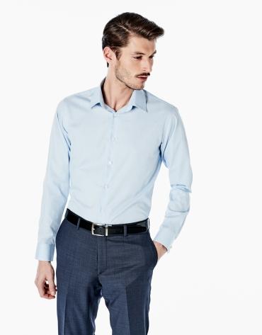 Chemise de costume coupe ajustée (slim fit) à micromotif pied de poule bleu ciel