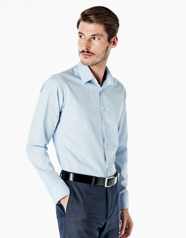Light blue hounds tooth slim fit dress shirt