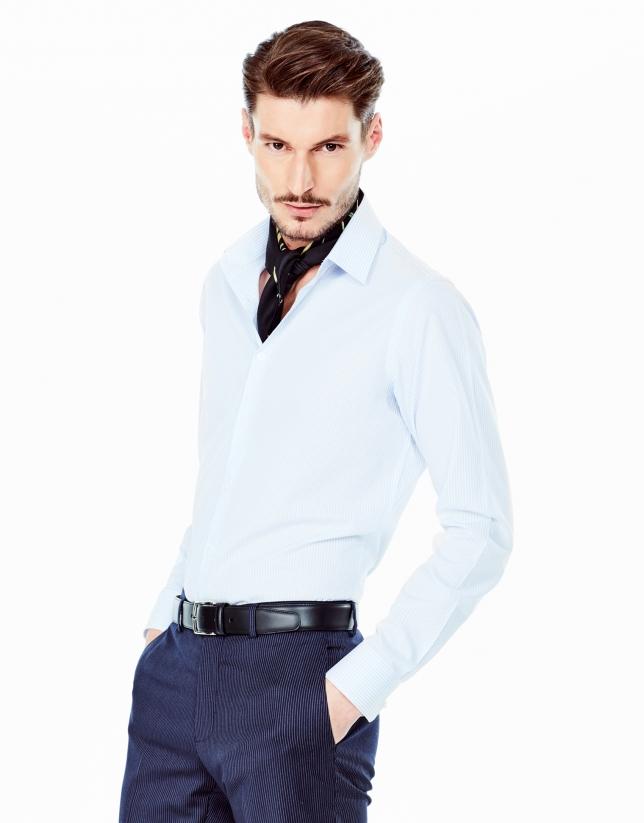 Light blue striped slim fit dress shirt