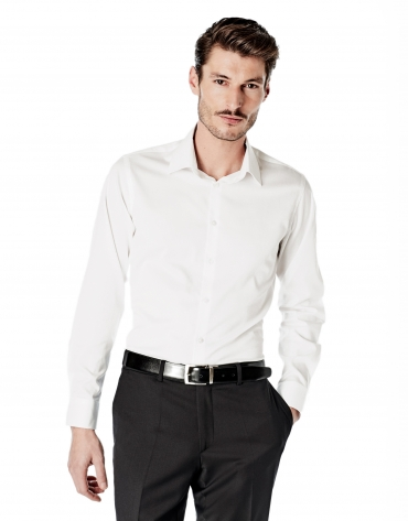 Chemise de costume coupe ajustée (slim fit) blanche à motif