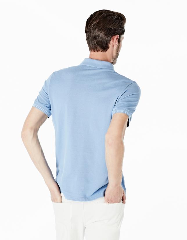 Polo en maille piquée bleu moyen