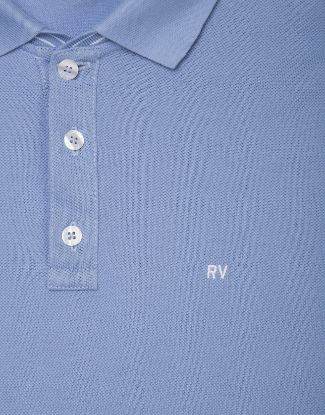 Medium blue piqué polo shirt