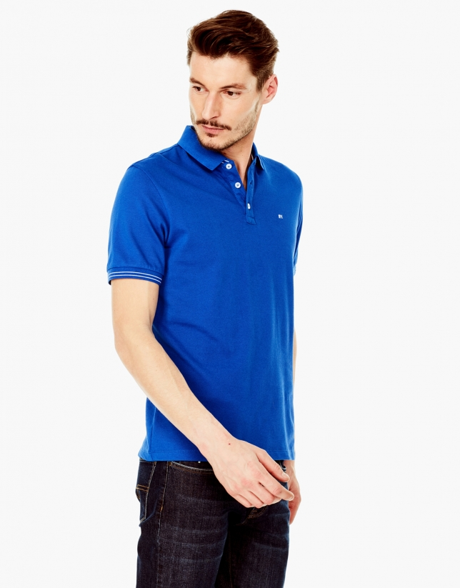 Deep blue piqué polo shirt