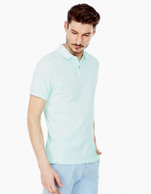 Aqua green piqué polo shirt