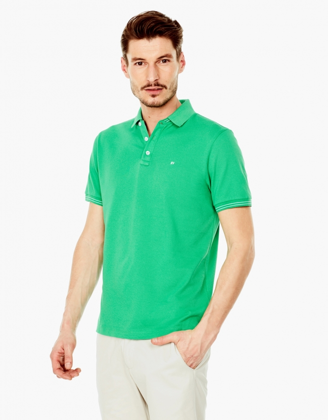 Green piqué polo shirt