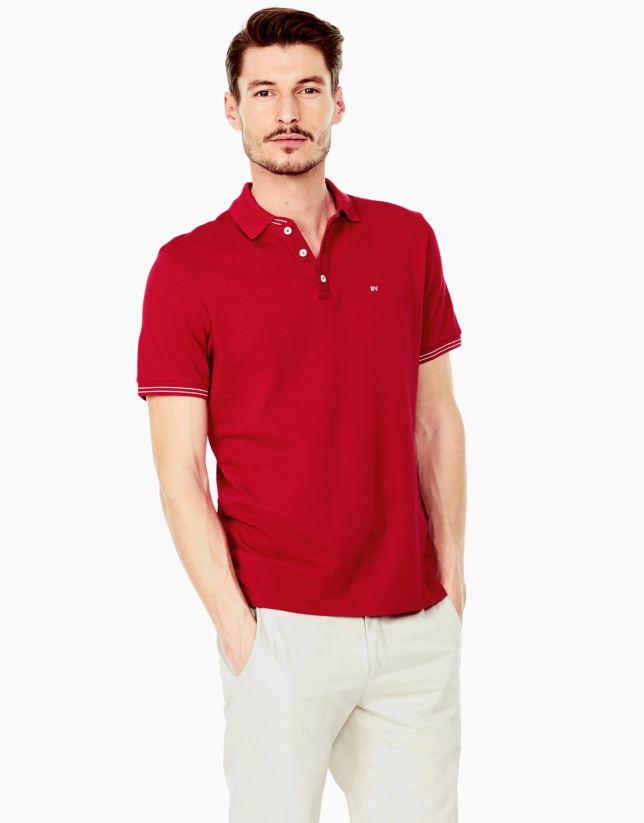 Red piqué polo shirt