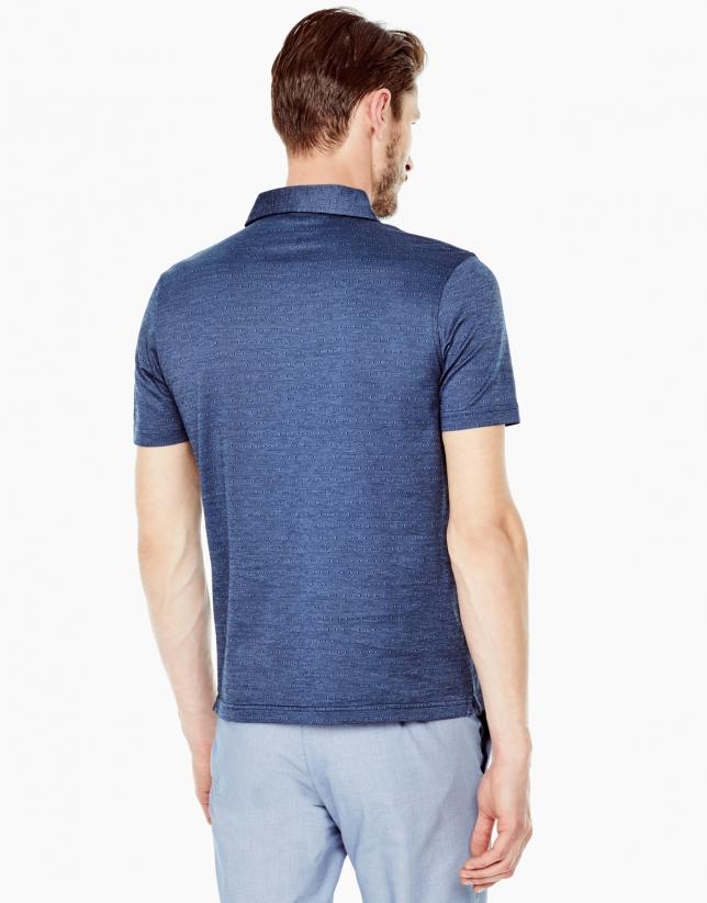 Deep blue microprint polo shirt
