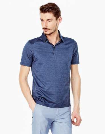 Deep blue microprint polo shirt