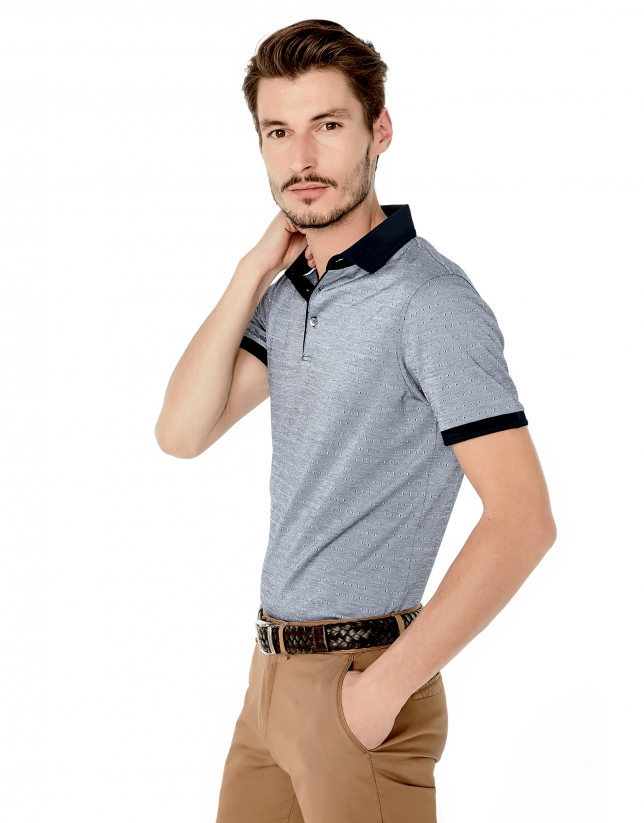 Blue microprint mercerized polo shirt