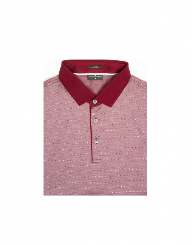 Red microprint mercerized polo shirt