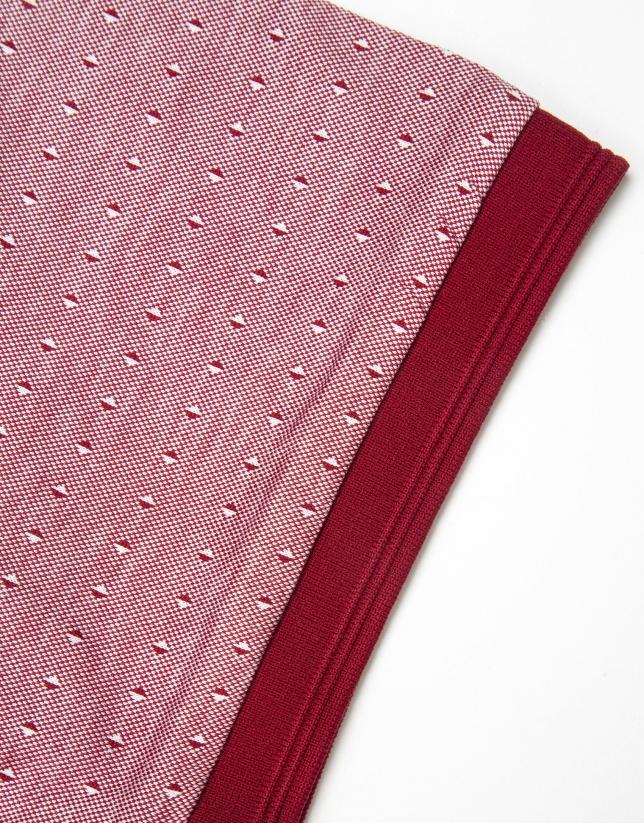 Red microprint mercerized polo shirt