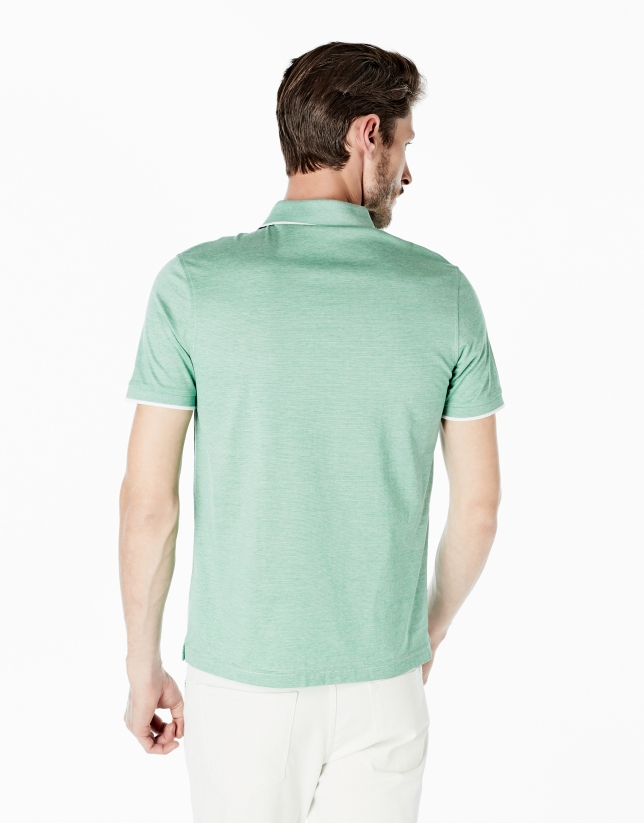 Green pinstriped mercerized polo shirt