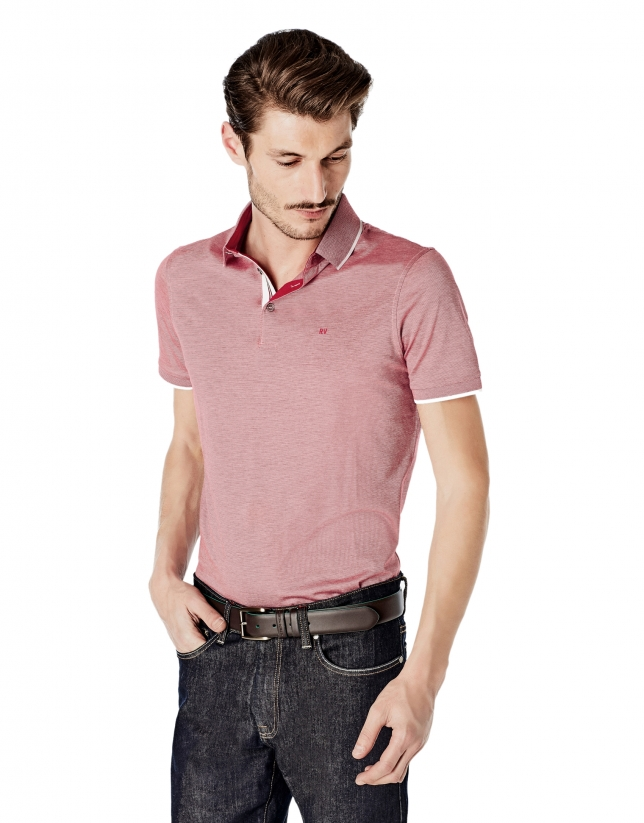 Red pinstriped mercerized polo shirt