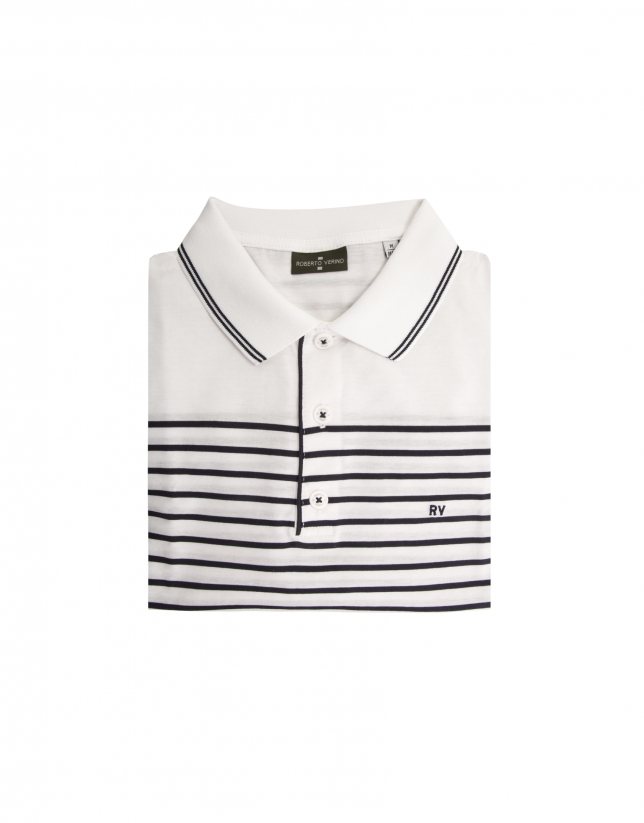 Navy blue and white striped polo shirt