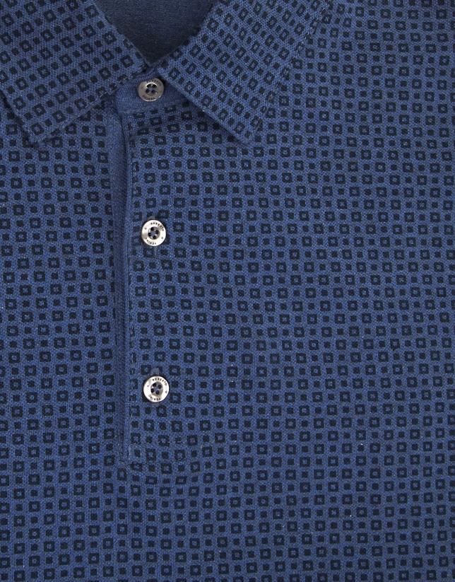 Blue microprint denim polo shirt