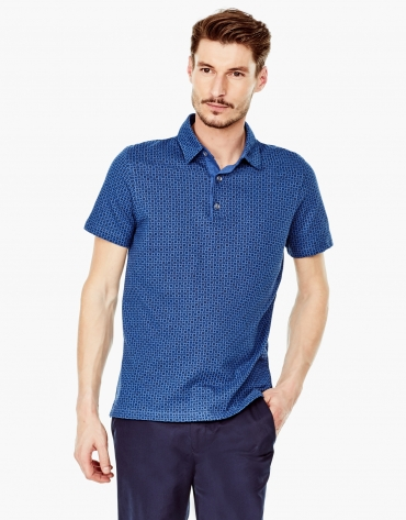 Blue microprint denim polo shirt