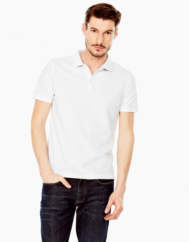 White mercerized polo shirt