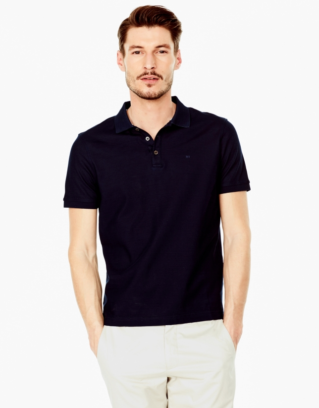 Navy blue mercerized polo shirt