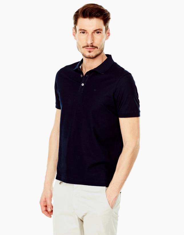 Navy blue mercerized polo shirt