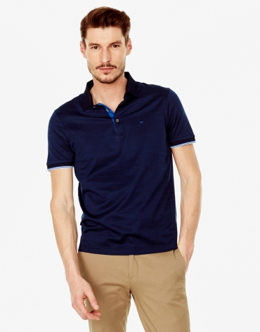 Navy blue microprint polo shirt
