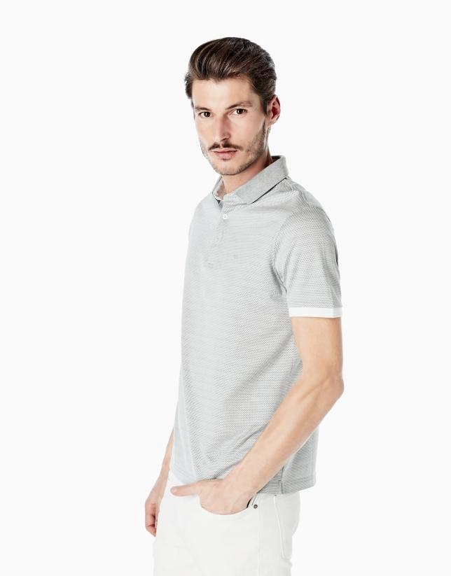 Gray microprint mercerized polo shirt