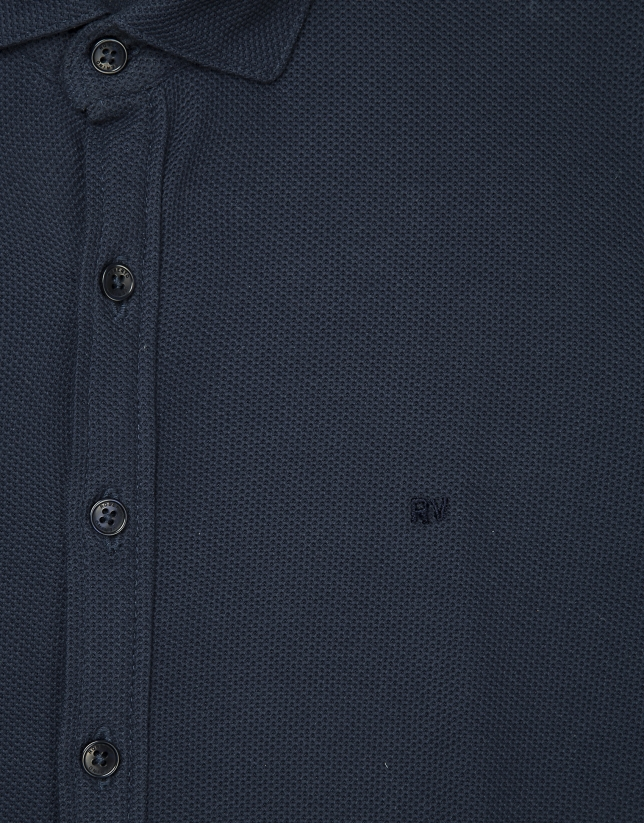 Navy blue polo shirt with shirt collar