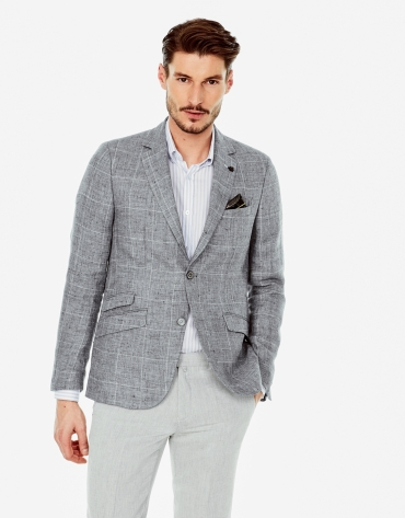 Gray checked linen sports coat