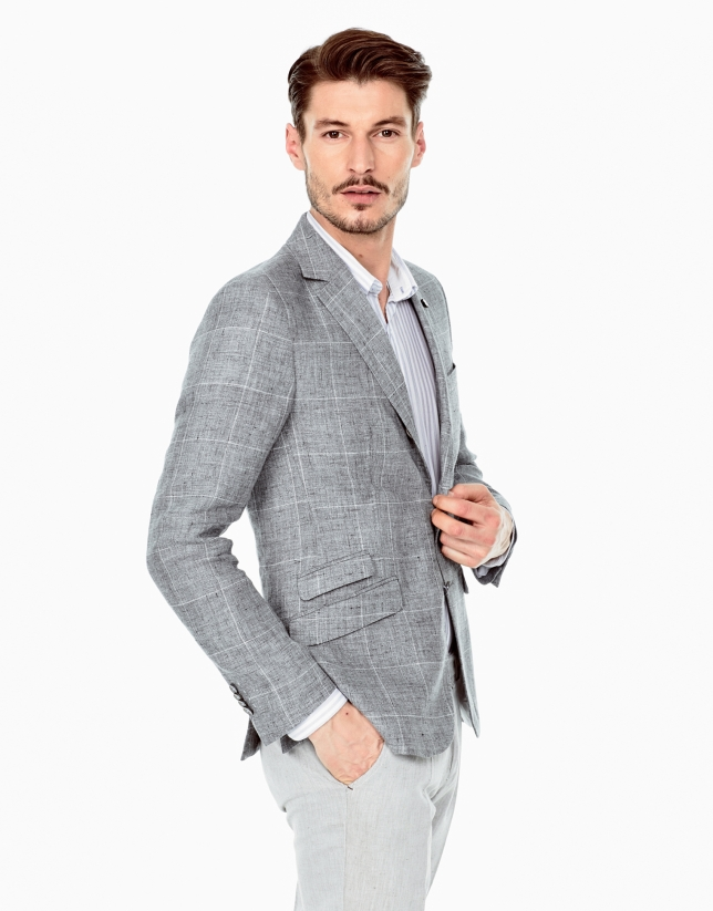 Gray checked linen sports coat
