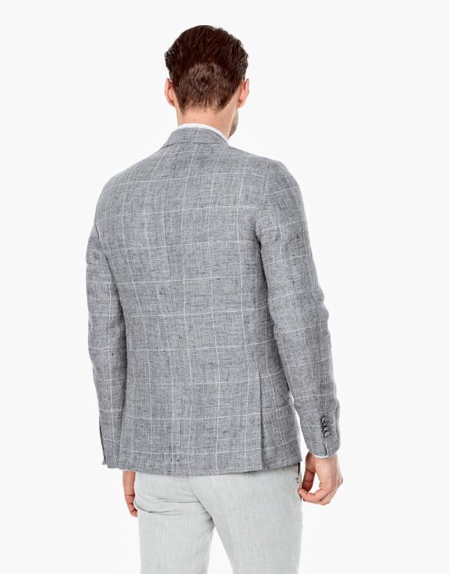 Veste grise en lin à carreaux